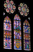 Stained glass windows of Freiburg Minster — Stock Photo