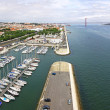 Docks on the banks of River Tagus in Lisbon, Portugal — Stock Photo