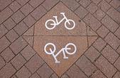 Fahrrad-schild an der straße — Stockfoto