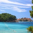 Azure lagoon near Sveti Stefan island, Montenegro — Stock Photo