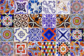 Close up traditional Lisbon ceramic tiles — Stock Photo
