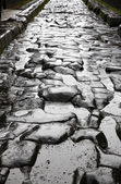 Paved street at the ancient Roman city of Pompei — Stock Photo