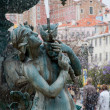 Stock Photo: Bronze fountain at Rossio square in Lisbon