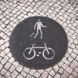 Bicycle and pedestrian lane road sign — Stock Photo