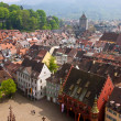 Bird eye view of buildings in Freiburg im Breisgau, Germany — Stock Photo