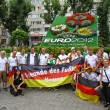 Germany football team supporters pose for a group photo — Stock Photo #34011731
