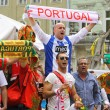 Portugal football team supporters walk on a streets of Lviv — Stock Photo #34011743