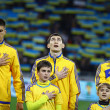 Ukraine National football team players listen the national anthe — Stock Photo
