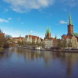 Skyline of medieval city of Lubeck, Germany — Stock Video #36168473