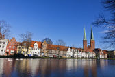 Skyline of the medieval city of Lubeck, Germany — Stock Photo