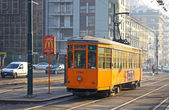 Old traditional Peter Witt tram on the street of Milan — Stock Photo