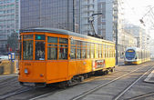 Trams on the street of Milan — Stock Photo