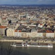 Aerial view of Danube river and Budapest city — Stock Photo