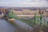 Liberty Bridge over Danube river in Budapest — Stock Photo