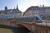 Modern tram on the streets of Strasbourg, France — Stock Photo