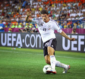 Mario Gomez of Germany controls a ball — Stock Photo