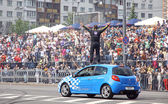 Red Bull Champions Parade on the streets of Kyiv — Stock Photo