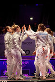 Womens Sabre match of World Fencing Championships — Stock Photo