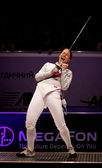 Sabre fencer Sofya Velikaya of Russia — Stock Photo