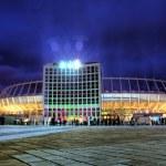 Iluminated night view of Olympic stadium in Kyiv — Stock Photo #7495852