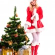 Christmas santa girl with gift — Stock Photo #15653595