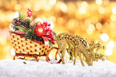 Christmas decor: sleigh and reindeers — Stok fotoğraf