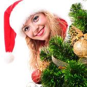 Vánoční santa girl — Stock fotografie