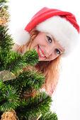 Christmas santa ansikte — Stockfoto