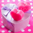Love candles and gift box — Stock Photo