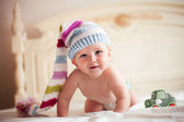 Baby in crochet hat — Stock Photo