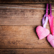 Crochet lovely hearts - Stock Photo