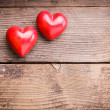 Stock Photo: Red hearts on wood