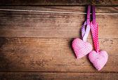 Crochet lovely hearts — Stock Photo