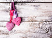 Crochet lovely hearts — Stock Photo