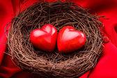 гнездо с сердечками — Стоковое фото