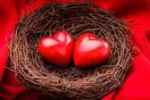 Nest with hearts — Stockfoto