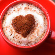 Stock Photo: Red cup with cappuccino