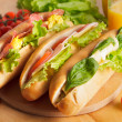 Various types of sandwiches - Stock Photo