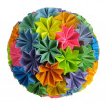 Origami kusudama rainbow — Stock Photo #2187629