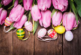 Tulips and eggs border — Stock Photo