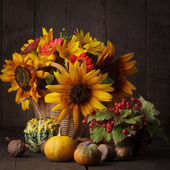 Still life in colours of autumn — Stock Photo