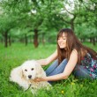 Woman play with her dog — Stock Photo