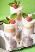 Dessert with raspberry — Stock Photo