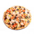 Pizza with salmon — Stock Photo