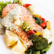 Grilled salmon steak with vegatables — Stock Photo #31852121