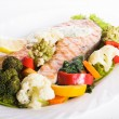 Grilled salmon steak with vegatables — Stock Photo