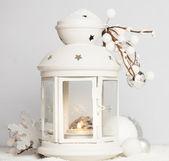 Cristmas lantern with snow — Stock Photo