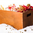 Box with christmas decoration — Stock Photo