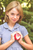 Red apple with heart shape — Stock Photo