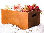 Box with christmas decoration — Stock Photo